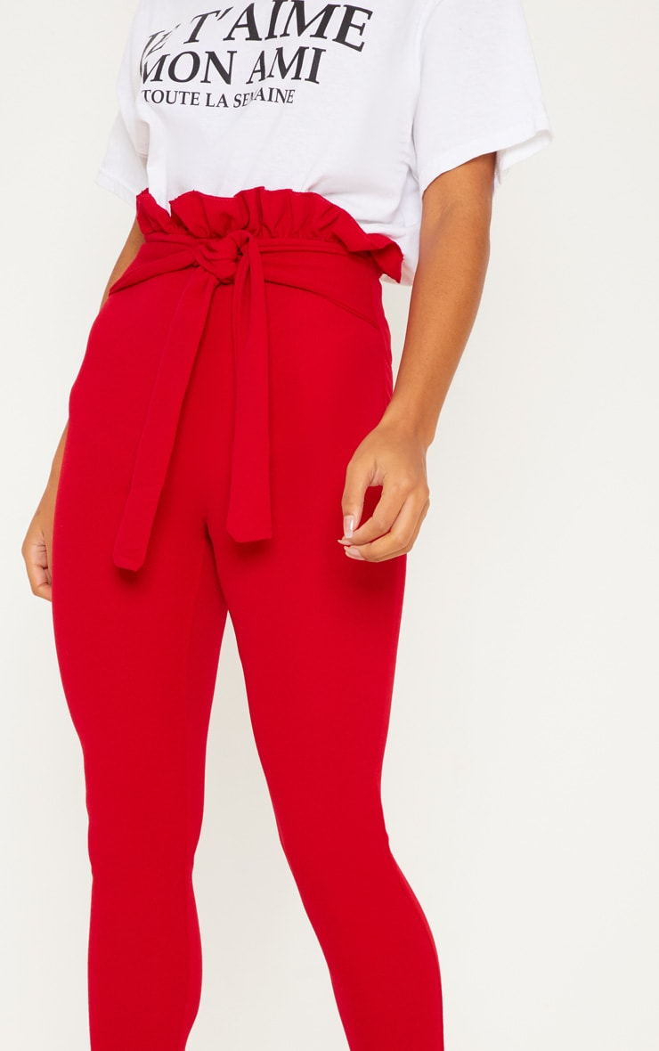 Perlita Red Paperbag Skinny Trousers 5