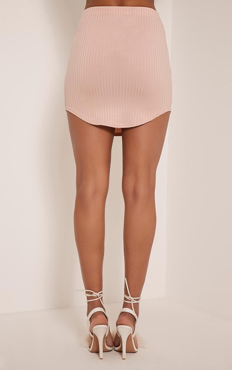 Ariana Nude Ribbed Curve Hem Mini Skirt 5