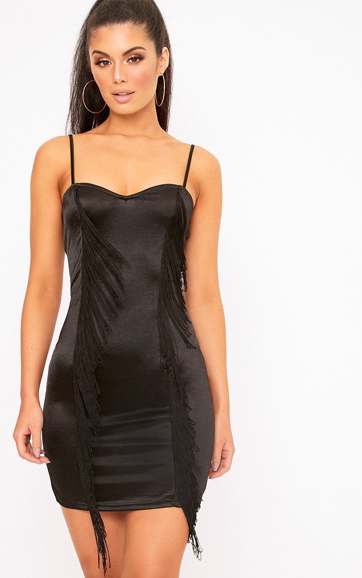 Black Fringe Detail Bodycon Dress 1