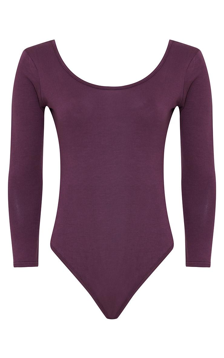 Basic Aubergine Scoop Neck Thong Bodysuit 3