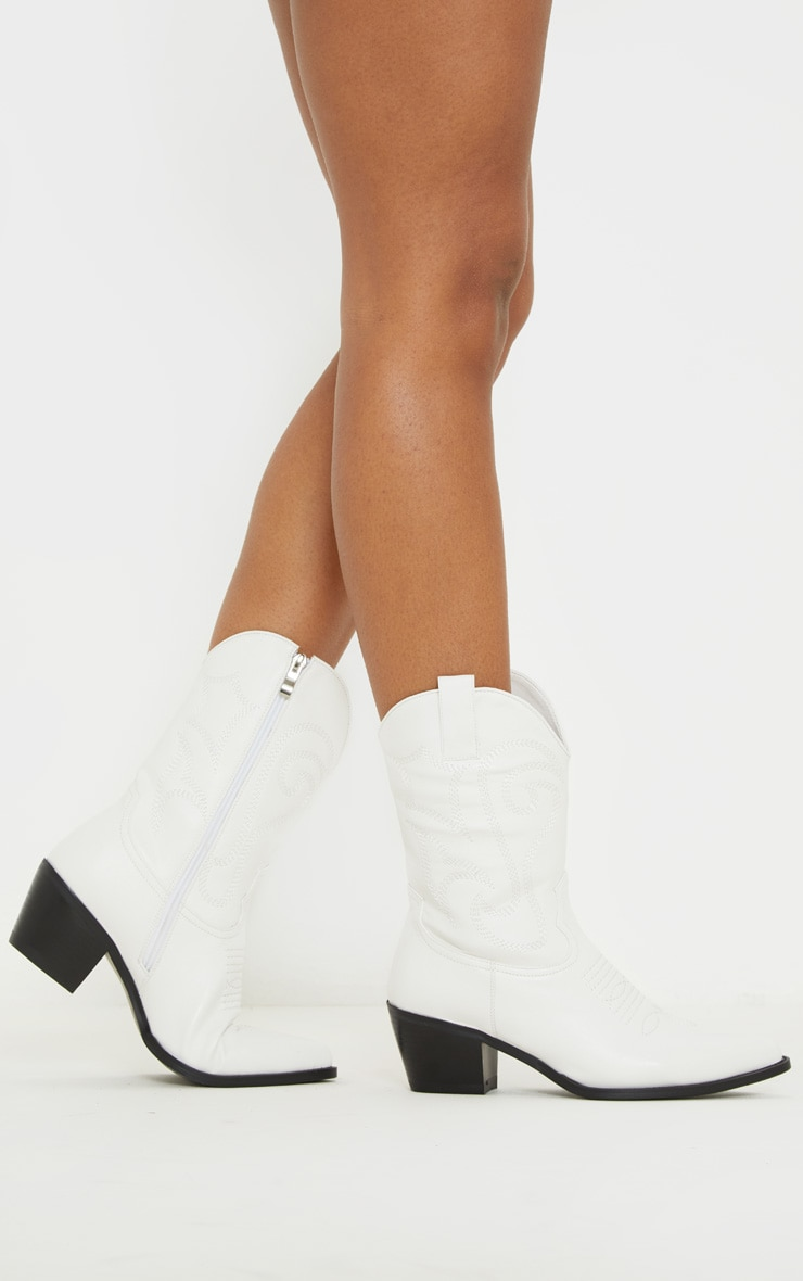 White Stitch Detail Western Calf Boot 2