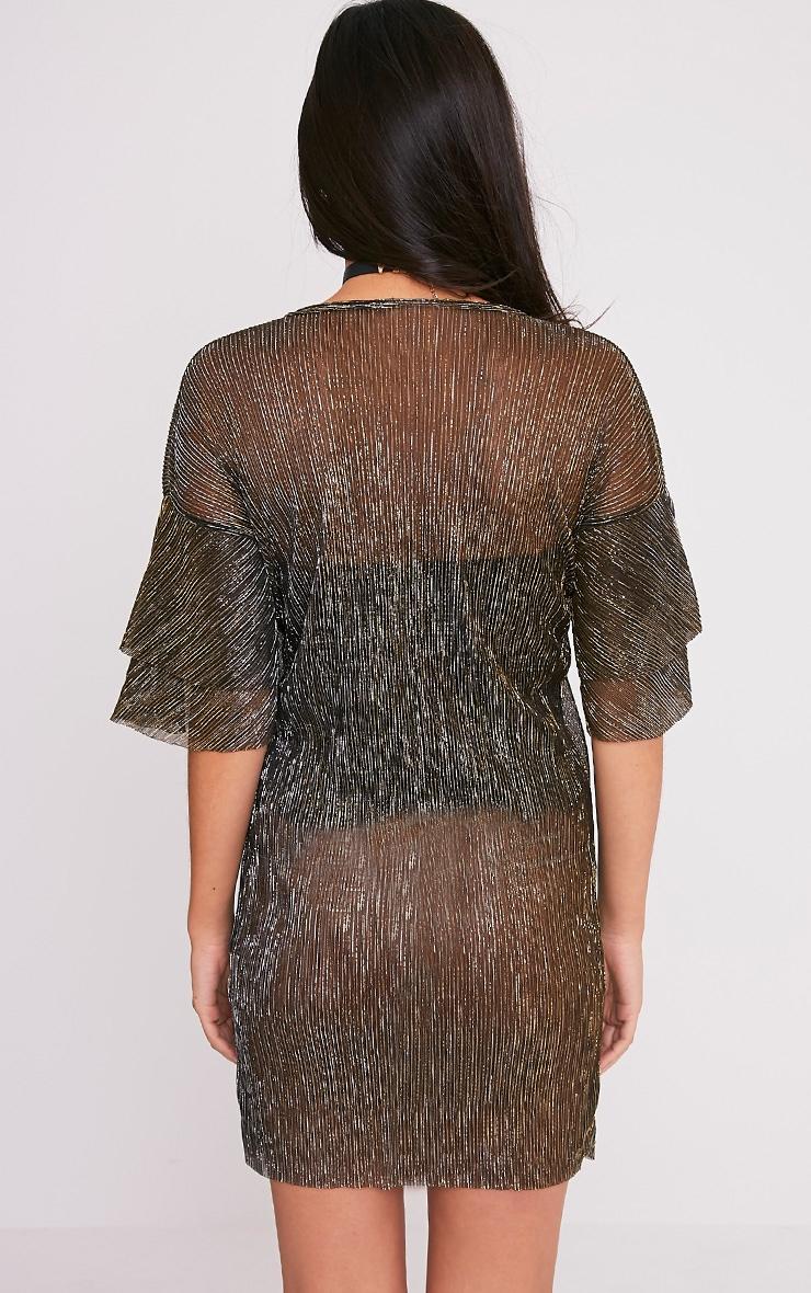 Savanah Black Pleated Glitter T-Shirt Dress 2