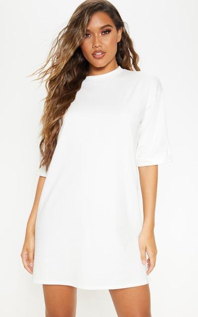 Ecru Boyfriend Oversized T Shirt Dress
