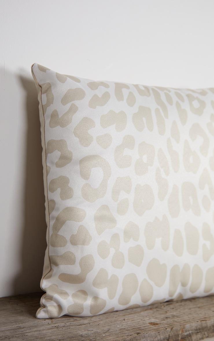 Cream Satin Leopard Print Filled Cushion 4