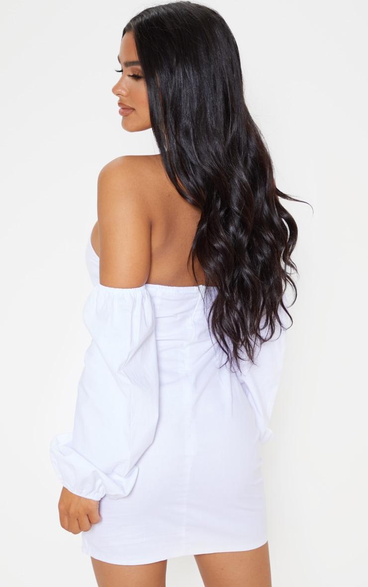 Petite White Bardot Full Sleeve Dress 2