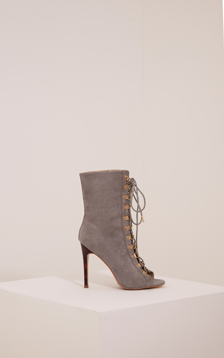 Elina Grey Lace Up Open Toe Ankle Boots 3