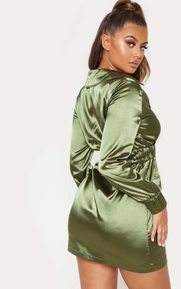 Khaki Satin Zip Front Pocket Detailing Shift Dress 3