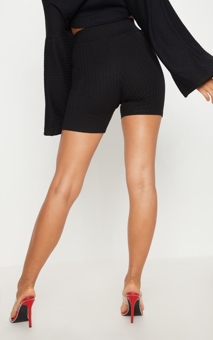 Black Rib High Waisted bike Shorts 4