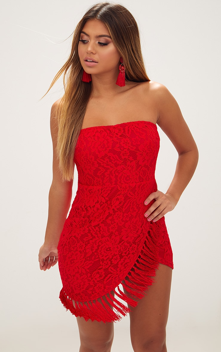 Red Bandeau Lace Tassel Wrap Bodycon Dress 1