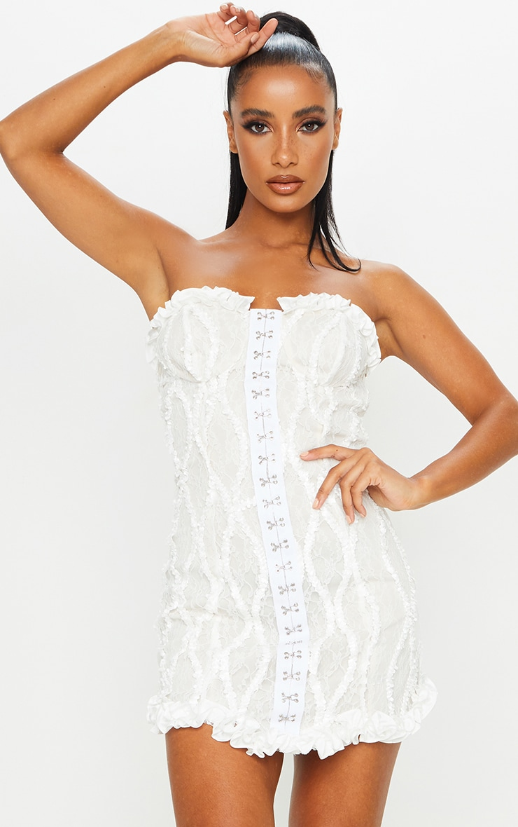 Nude Hook & Eye Lace Embroidered Bandeau Bodycon Dress 1
