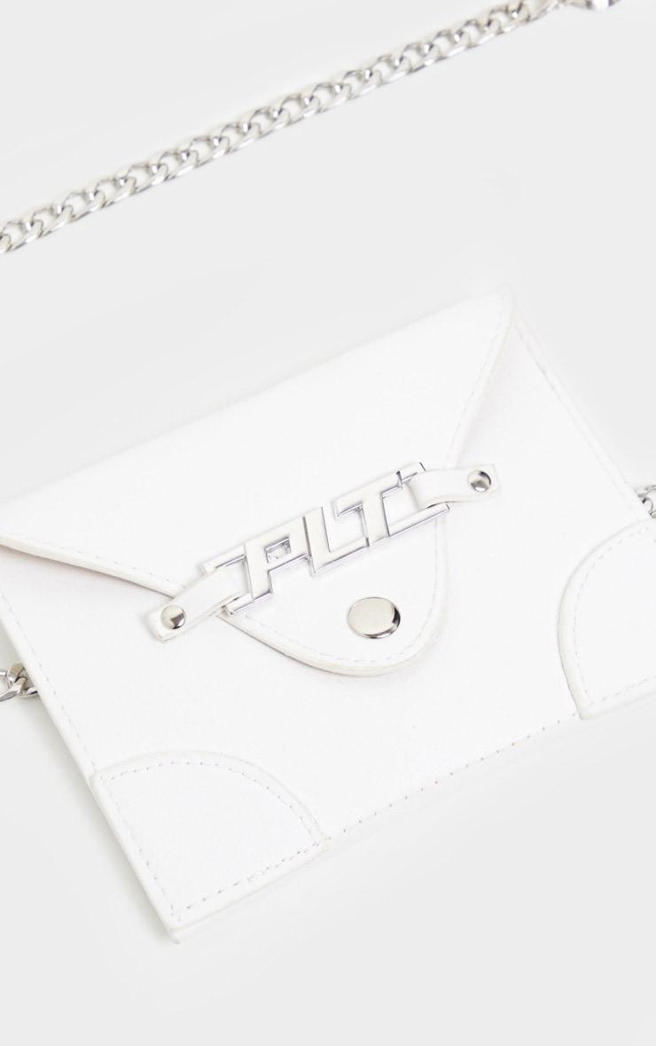PRETTYLITTLETHING White PU Envelope Chain Bum Bag 3