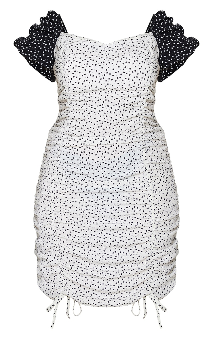 Plus White Heart Print Puff Sleeve Contrast Bodycon Dress 5