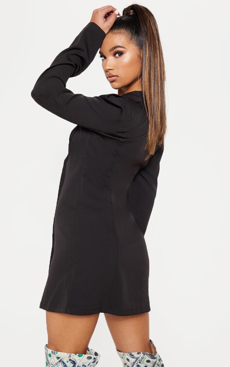 Black Button Long Sleeve Blazer Dress 2
