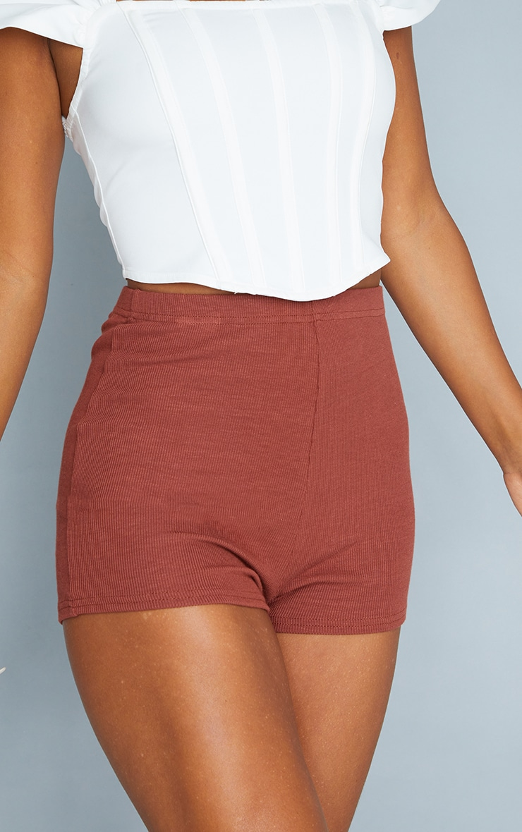 Chocolate Soft Rib Hot Pants 5