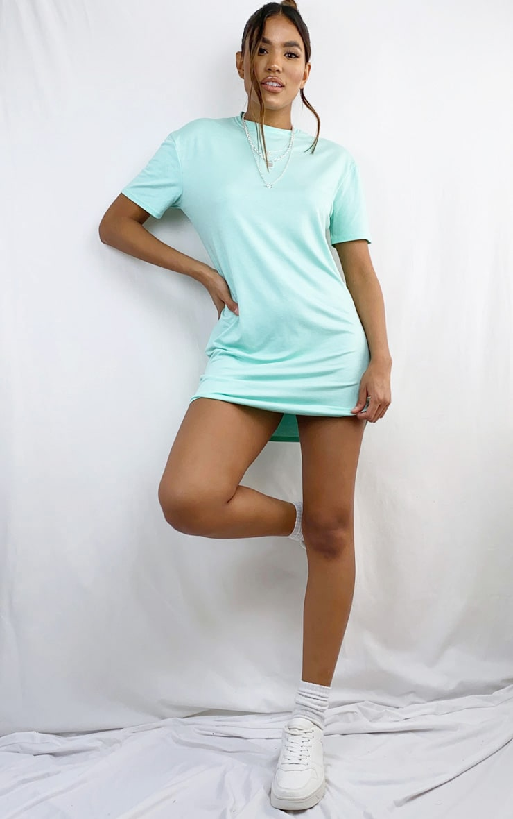 Mint Marl Basic Fitted T Shirt Dress 3