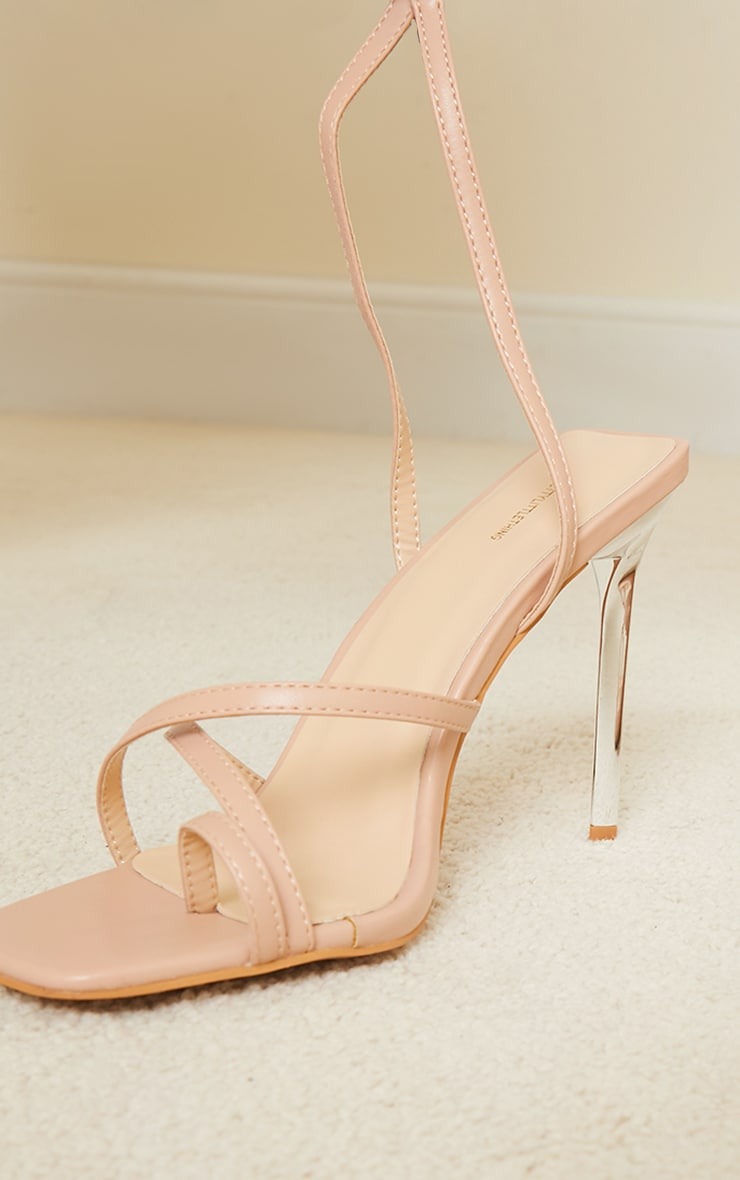 Nude PU Toe Loop Cross Over Strappy High Heels 4