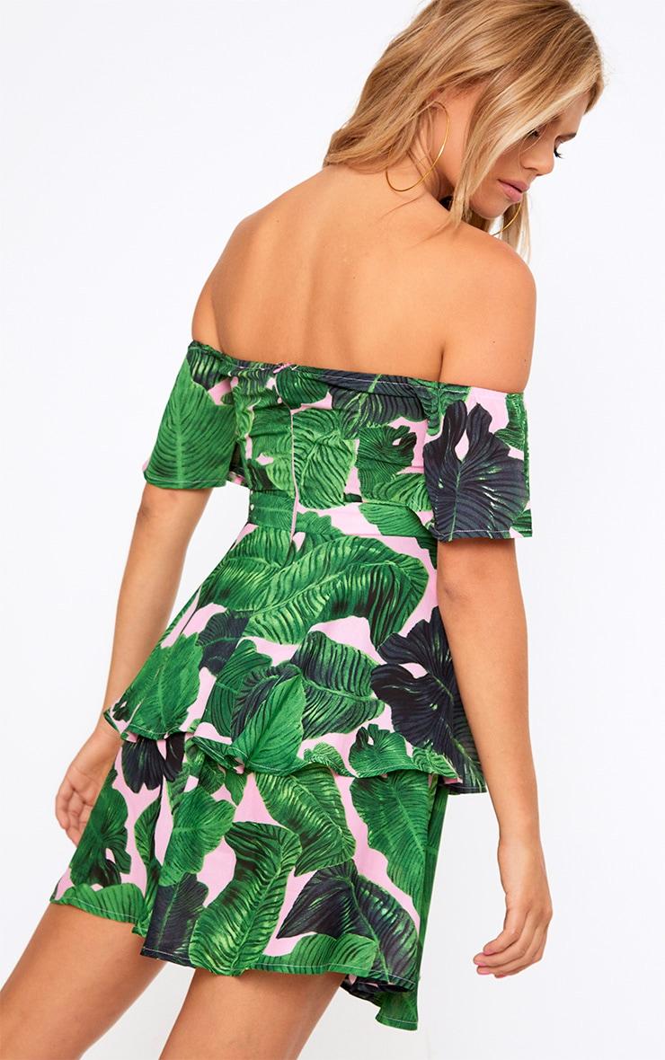Pink Tropical Print Frill Bardot Swing Dress 2