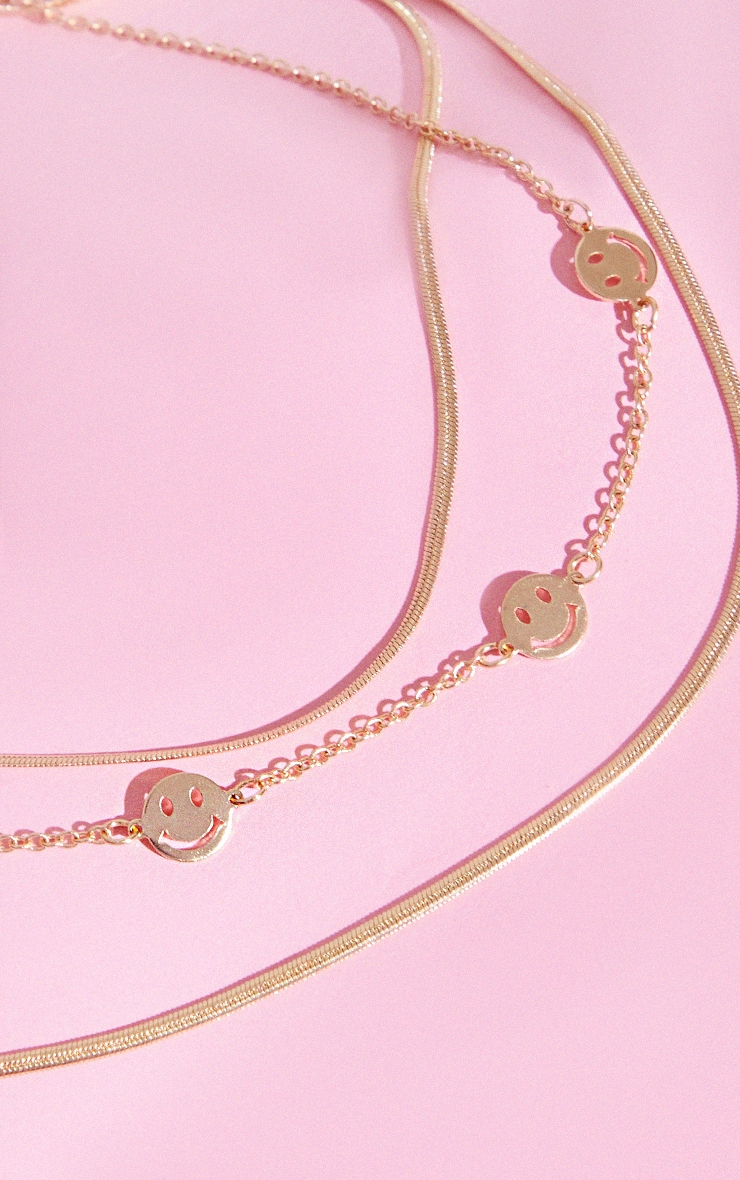 Gold Smiley Face Layering Necklace 3