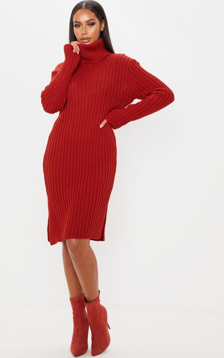 Rust Roll Neck Midi Sweater Dress 1