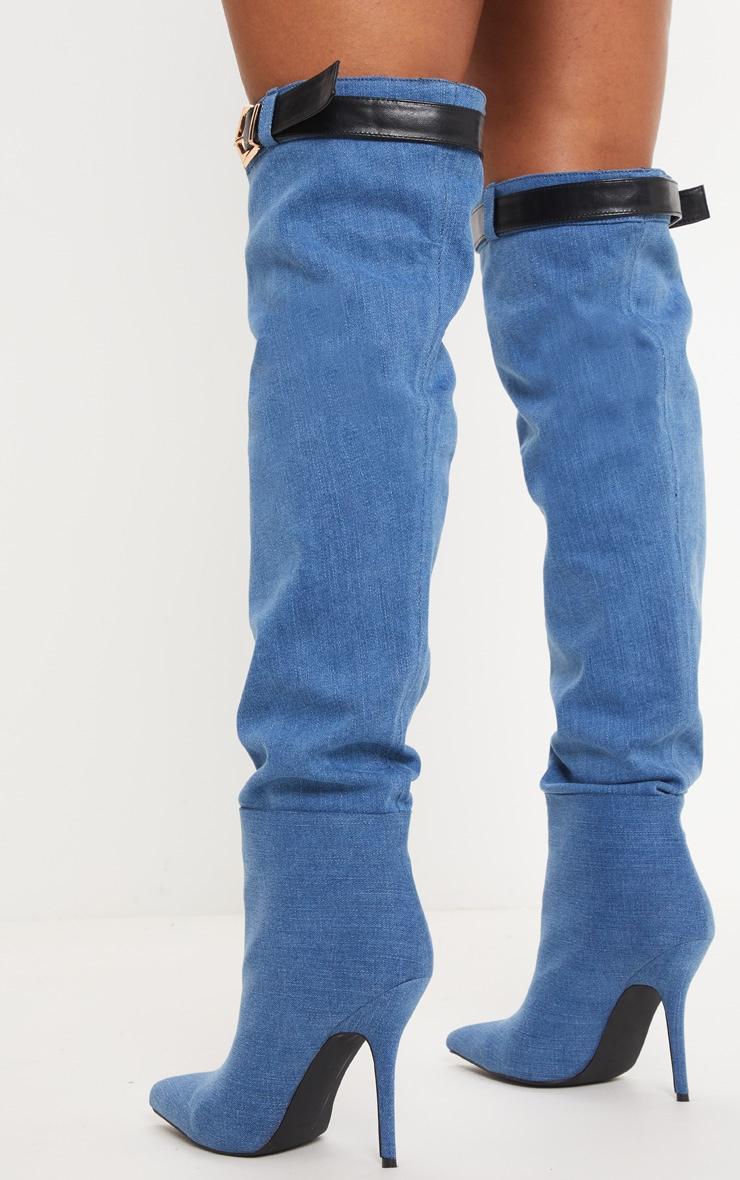 Denim Buckle  Thigh High Boot 2