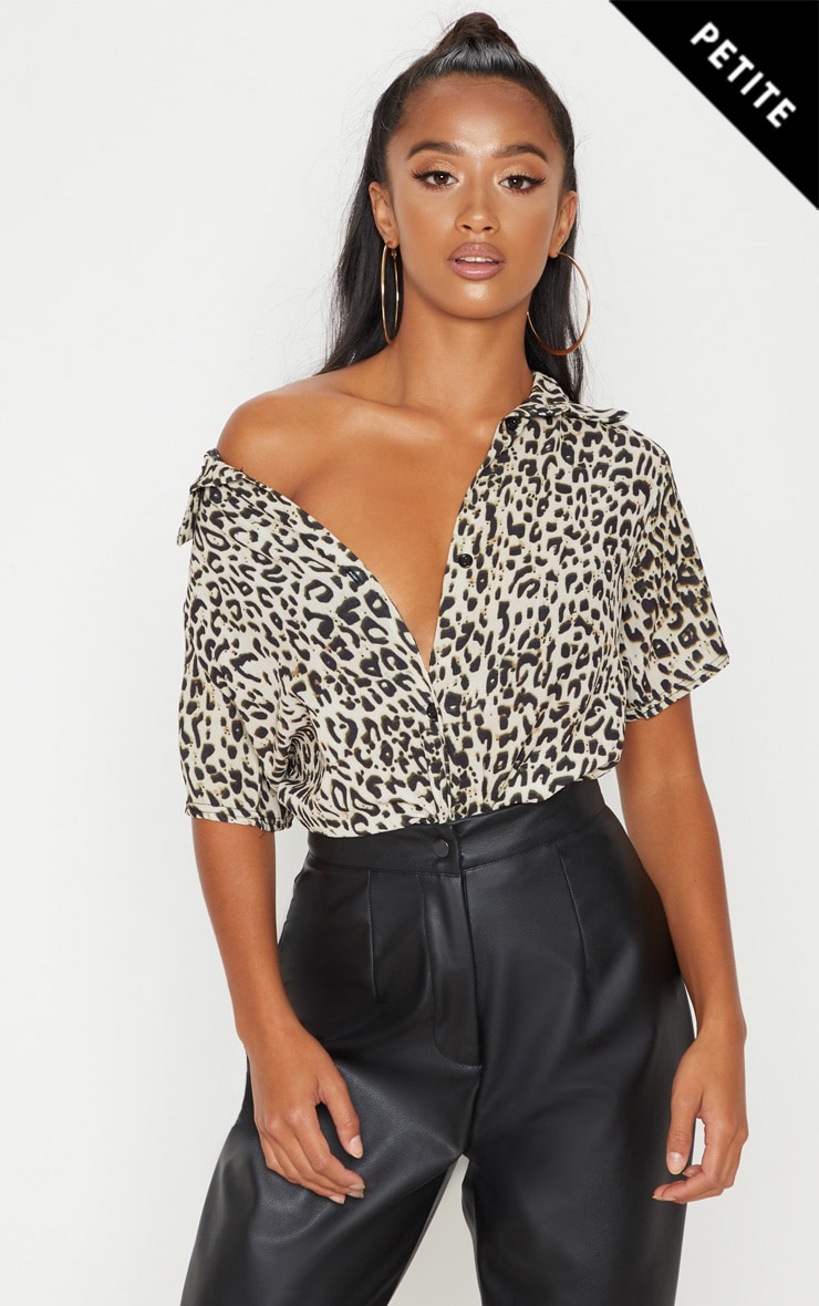 Petite Brown Leopard Print Cropped Shirt