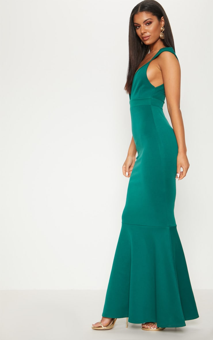 Emerald Green Extreme Plunge Shoulder Detail Fishtail Maxi Dress 3