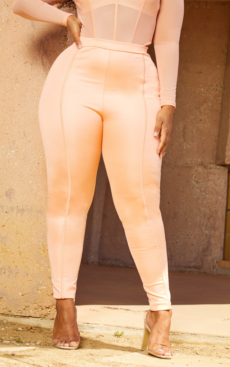 Plus Peach Second Skin Piping Detail Skinny Trousers 2
