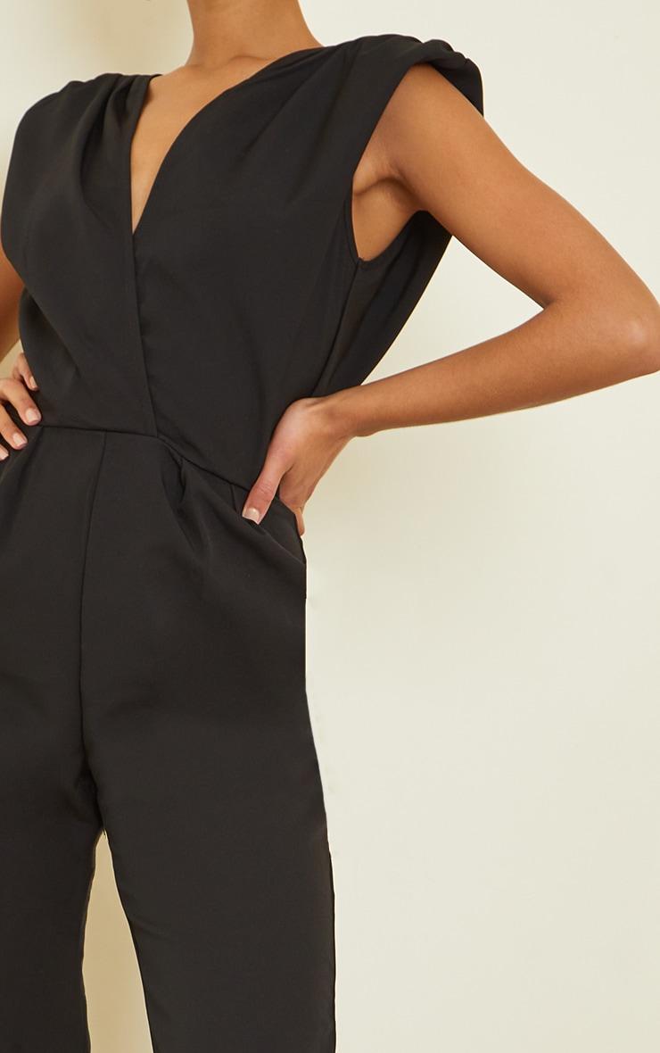 Black Shoulder Pad Wrap Woven Jumpsuit 4
