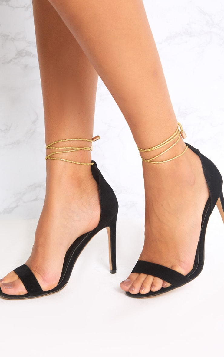 Black Knotted Strappy Heels 2