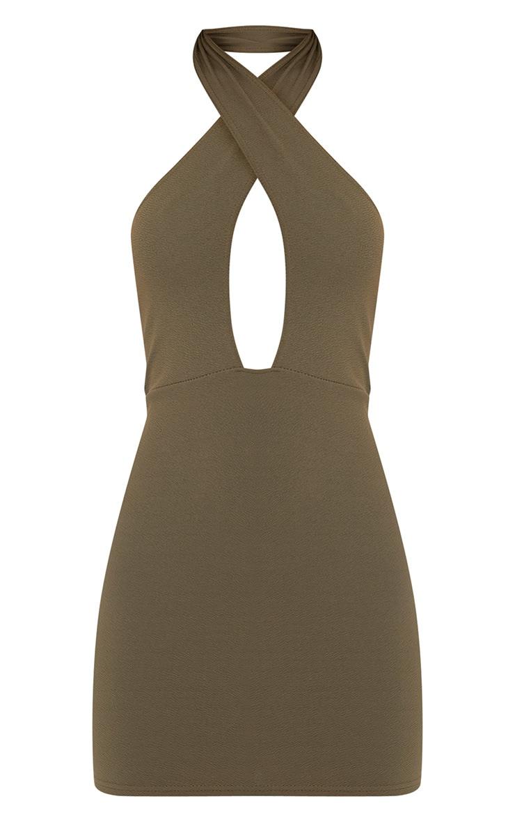 Wendina Khaki Cross Front Crepe Bodycon Dress 3