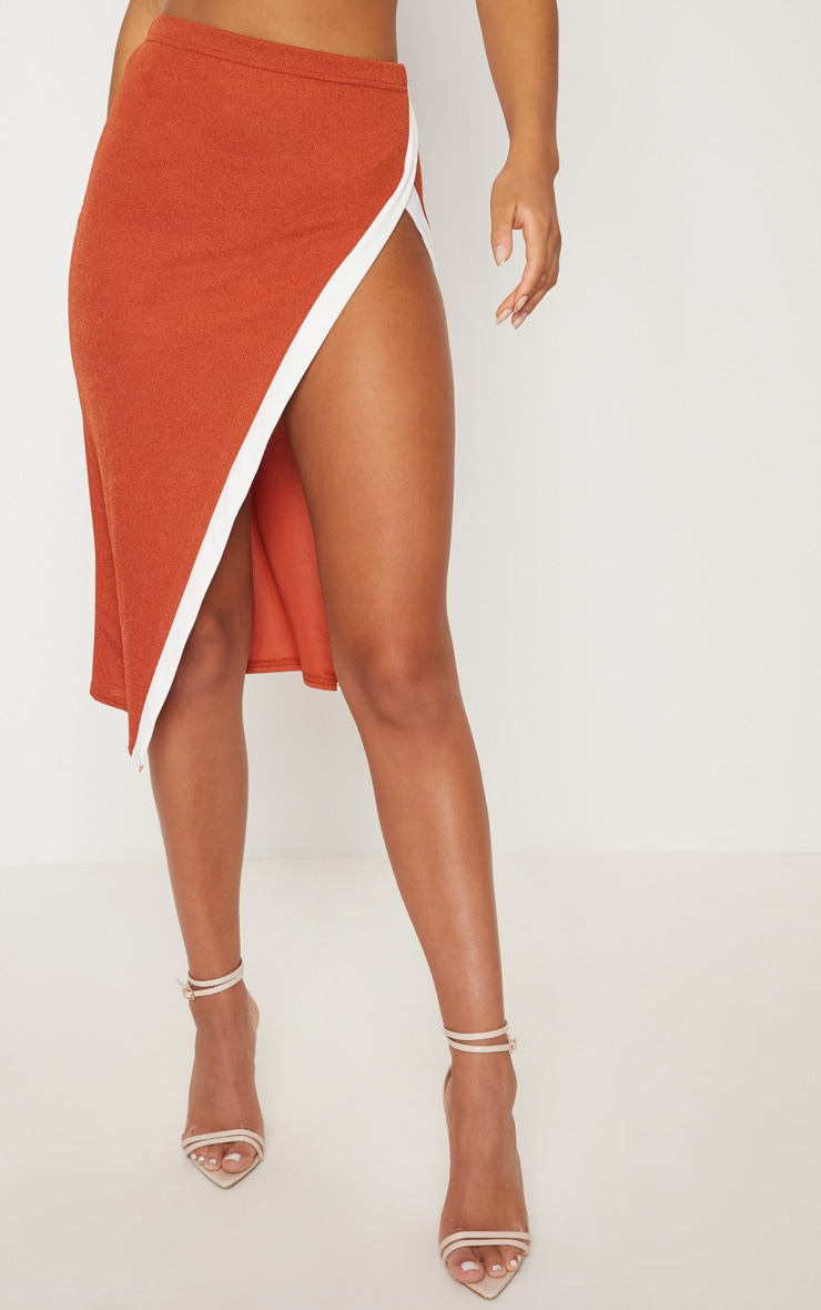 Orange Contrast Midi Skirt 2