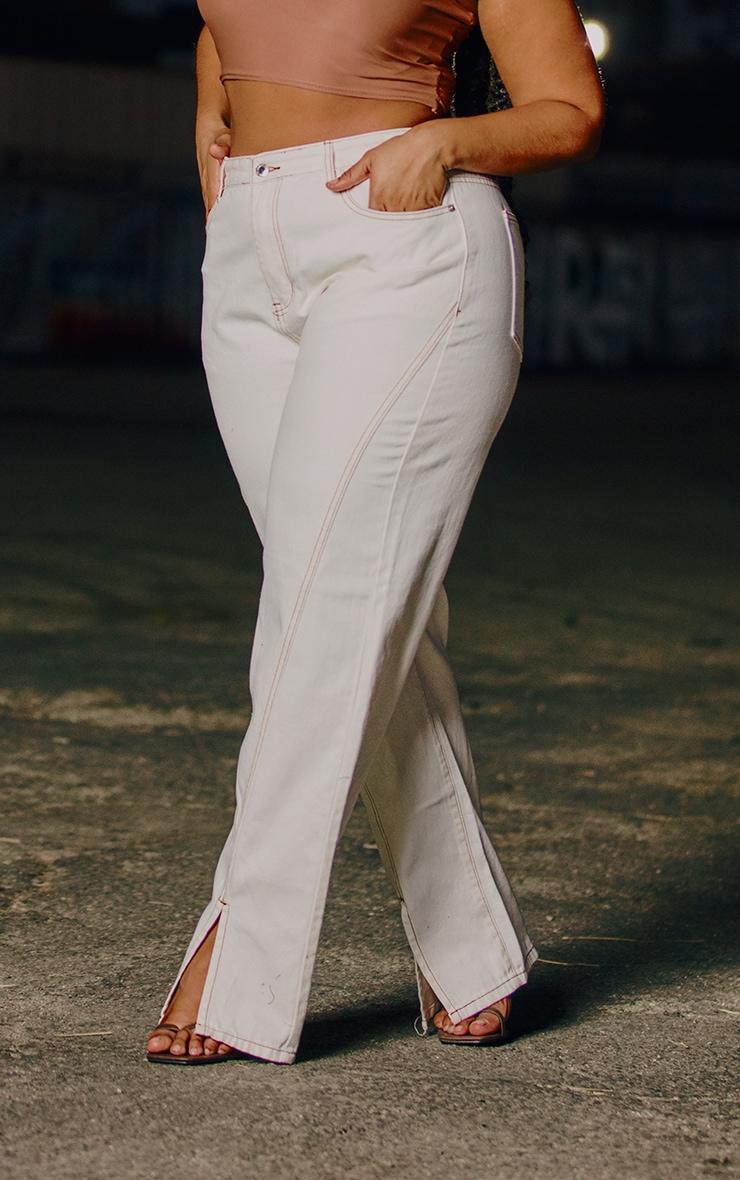 Plus White Tobacco Stitch Seam Detail Split Hem Jeans 2