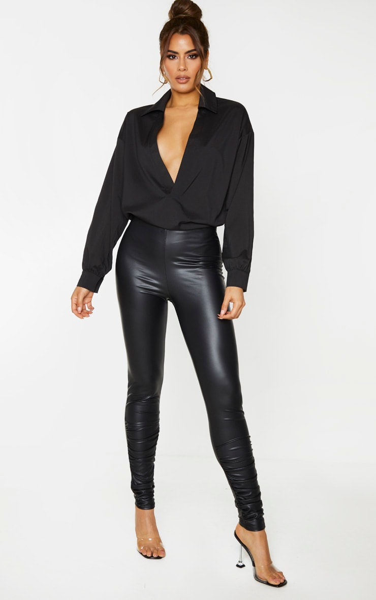 Tall Black Coated PU Ruched Ankle Leggings 1
