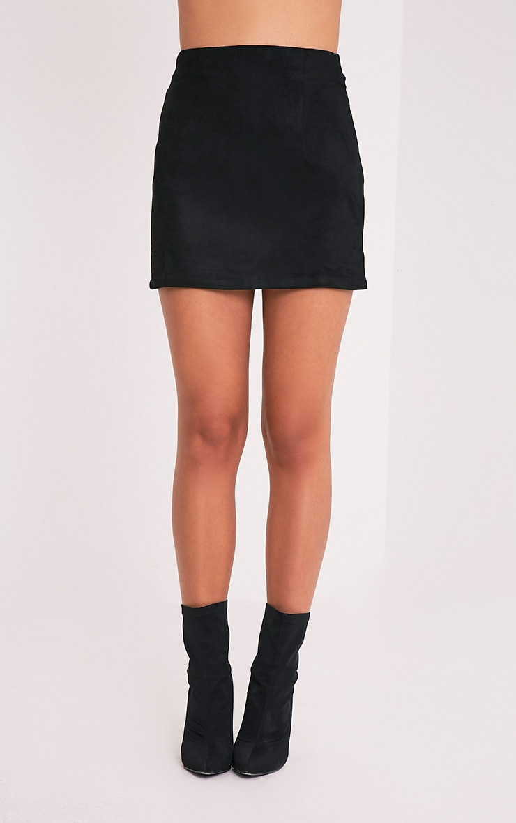 Lauree Black Faux Suede Mini Skirt 2