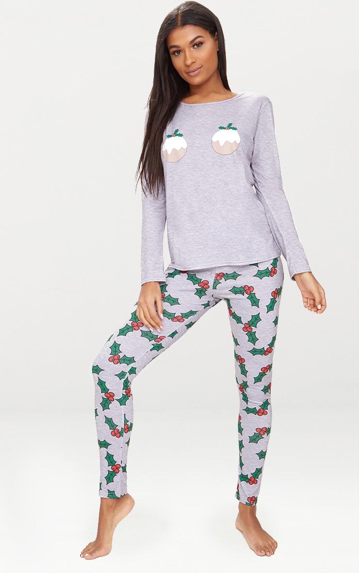 Grey Christmas Pudding Long Pyjama Set  1