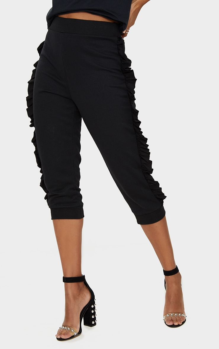 Black Cropped Side Frill Joggers 2