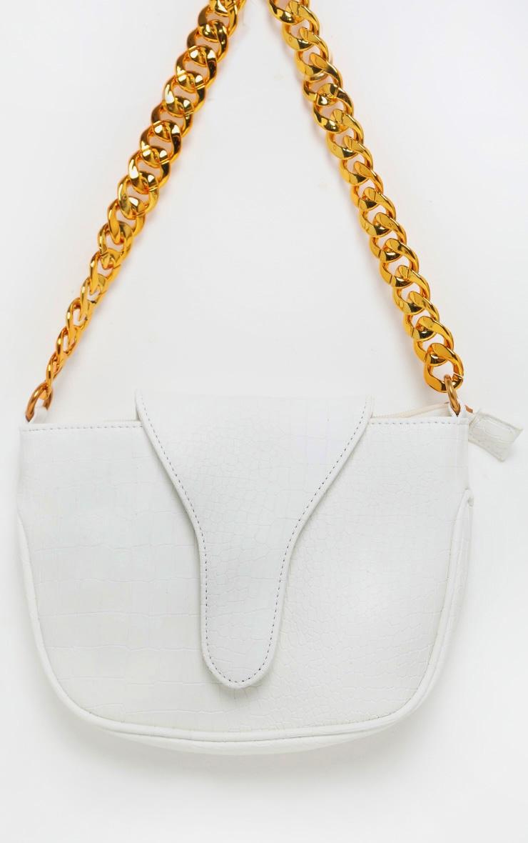 White Gold Chain Croc Mini Bag 2