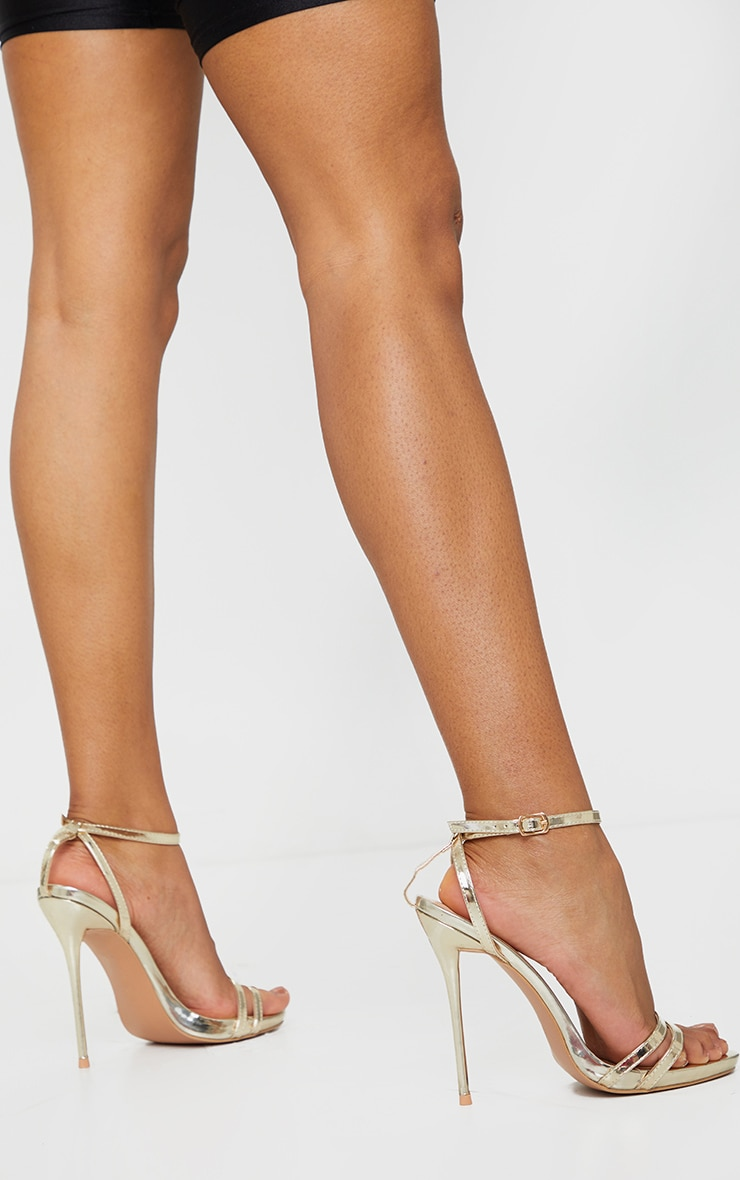 Gold Wide Fit High Strappy Sandal 2