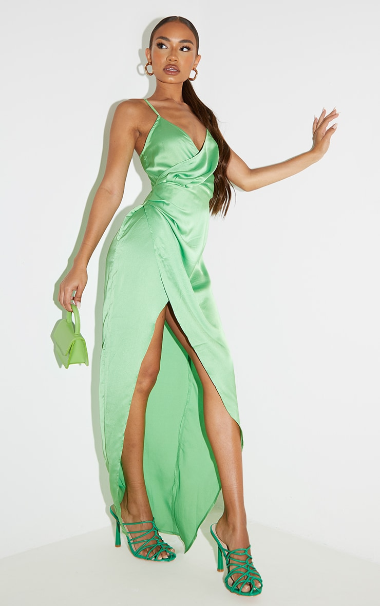 Petite Green Satin Wrap Detail Maxi Dress 1