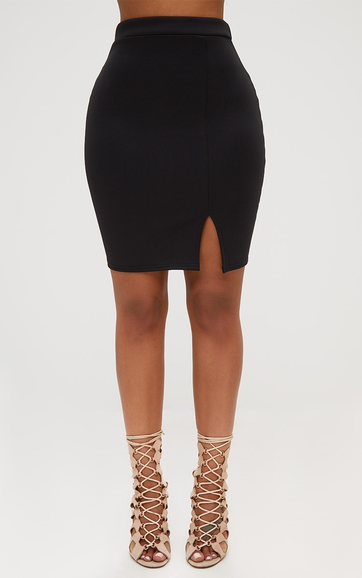Shape Black Basic Mini Split Front Skirt  2