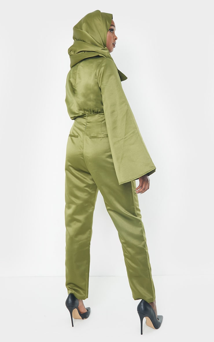 Khaki Satin Flare Sleeve Wide Leg Jumpsuit 2