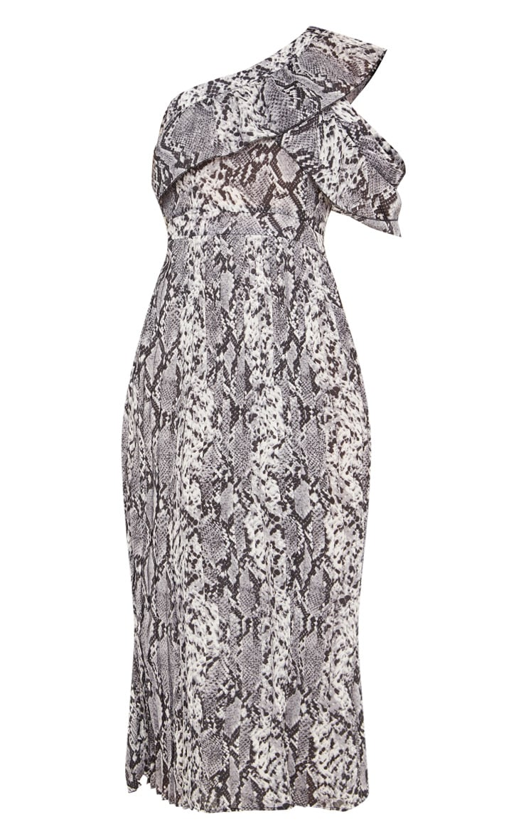 Grey Snake Print One Shoulder Ruffle Detail Pleated Midi Dress 3