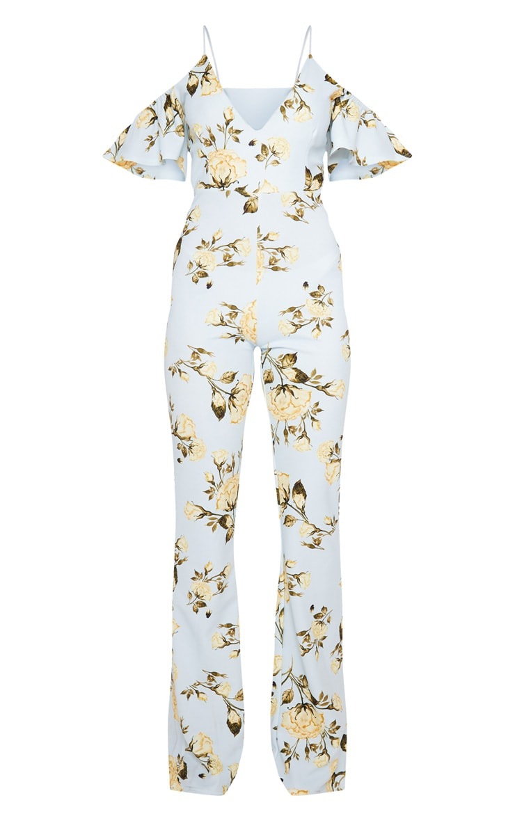 Blue Floral Printed Cold Shoulder Jumpsuit 3
