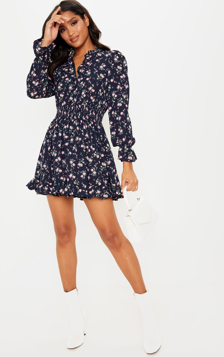 Navy Ditsy Floral Shirred Waist Shirt Dress 4