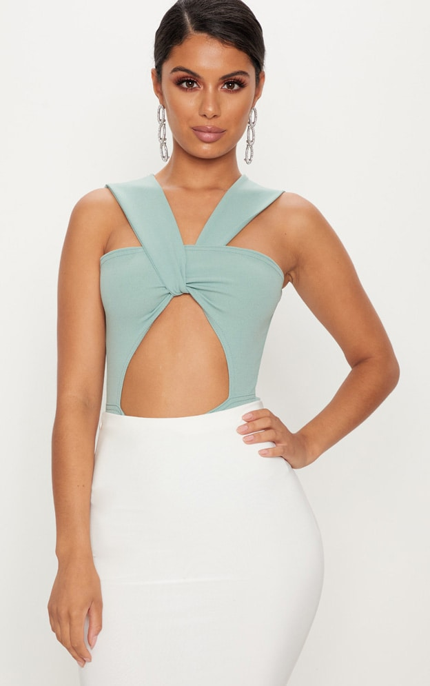 Mint Cut Out Wrap Front Bodysuit 1