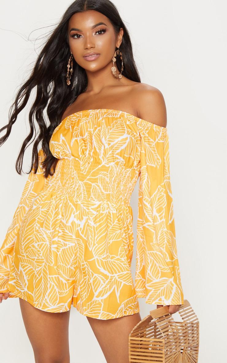 Orange Palm Bardot Romper 1