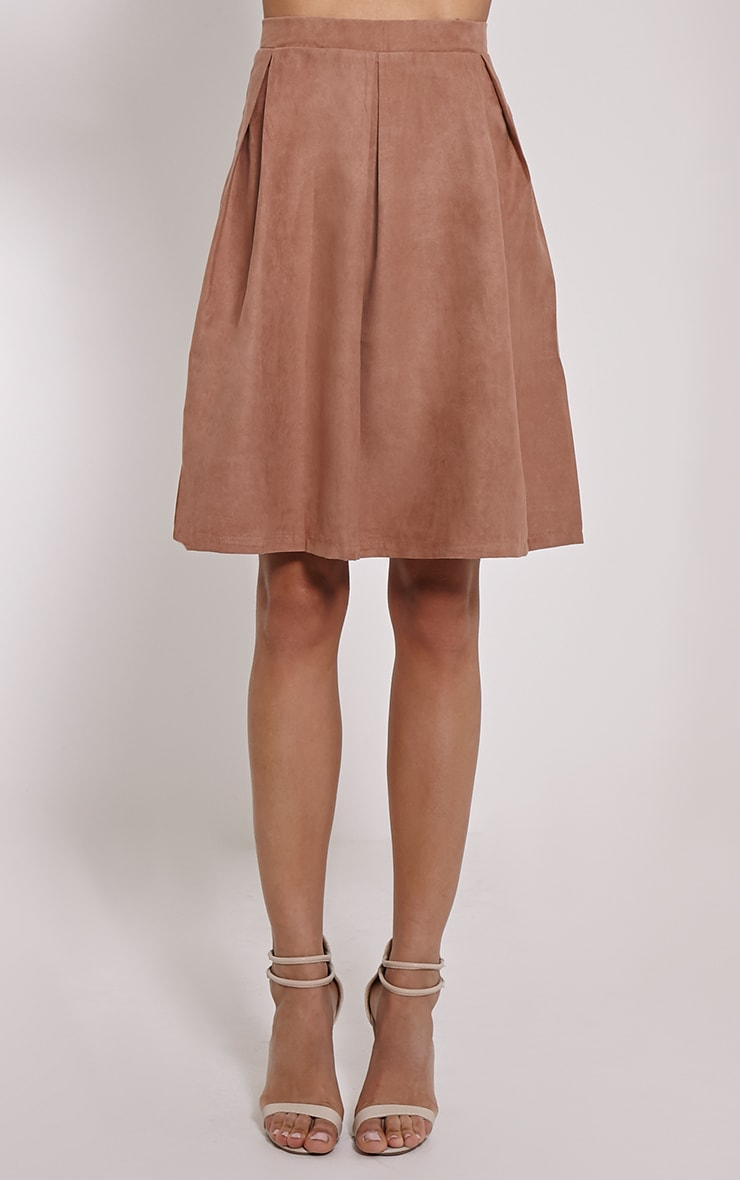 Teagon Tan Pleated Faux Suede A-Line Midi Skirt 2