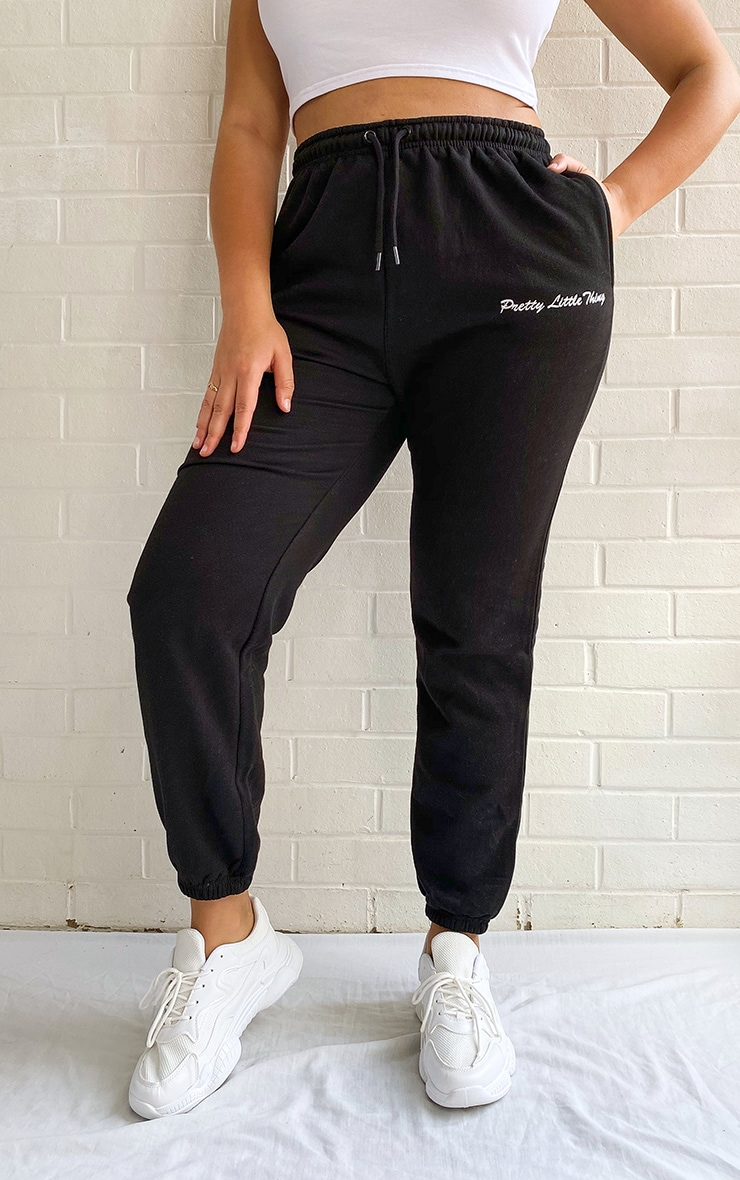 PRETTYLITTLETHING Plus Black Embroidered Leg Joggers 2