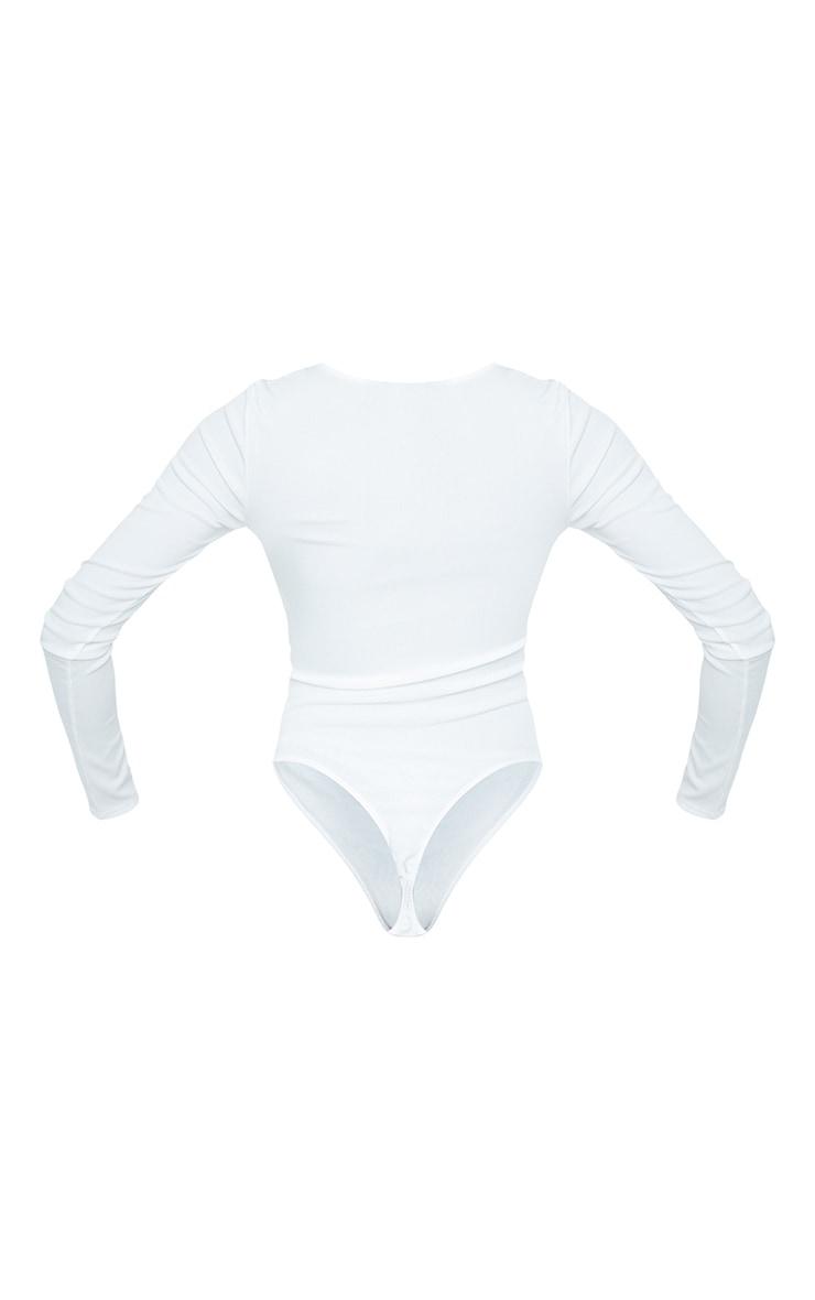 Tall White Ribbed Milkmaid Long Sleeve Bodysuit 6