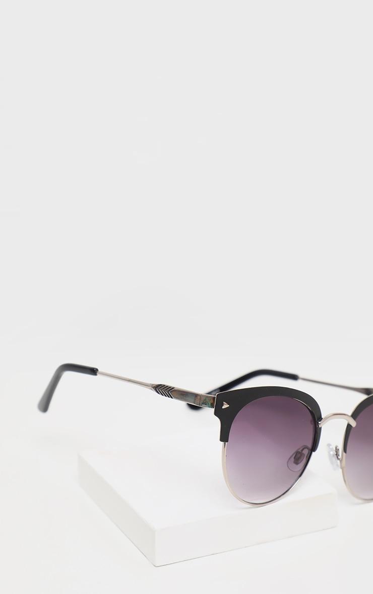 Black Frame Rounded Aviator Sunglasses 4